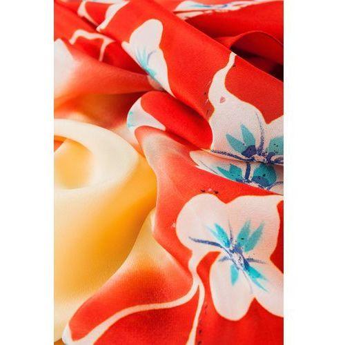 Jedwabna apaszka w białe kwiaty - Jedwab polski