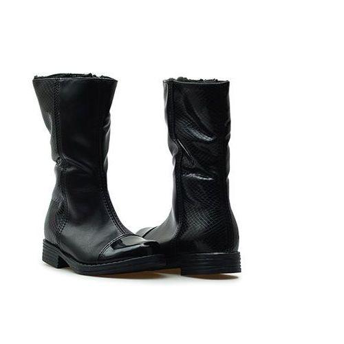 Kozaki dziewczęce Kornecki 04588 Czarne + łuska, kolor czarny