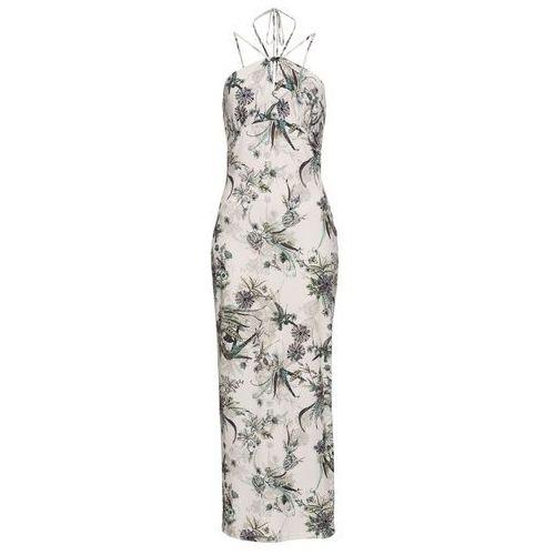 Sukienka bonprix biało-zielony wzorzysty