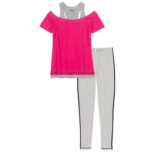 cc42102172632e Piżama z legginsami jasnoszary melanż - różowy (bonprix) - sklep ...