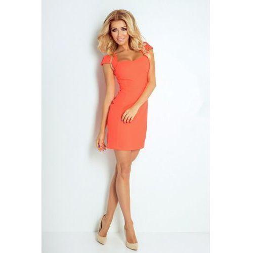 Numoco 118-1 brzoskwiniowo-neonowa sukienka z ładnym dekoltem