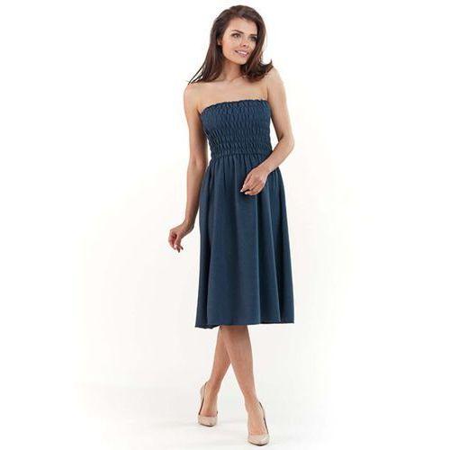 6d6f6e8cfa789 Granatowa rozkloszowana midi sukienka z gorsetową górą z gumkami marki Lou- lou