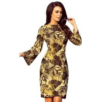 Musztardowa kobieca dopasowana sukienka w liście z rozkloszowanym rękawem