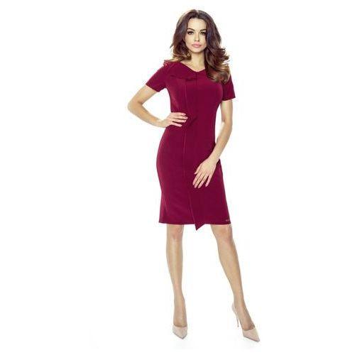Sukienka z oryginalną a'la zakładką z przodu, kolor czerwony