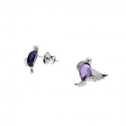 a51860679919e0 ankabizuteria.pl Kolczyki srebrne rodowane z ametystem ptak, kolor  fioletowy - Galeria produktu