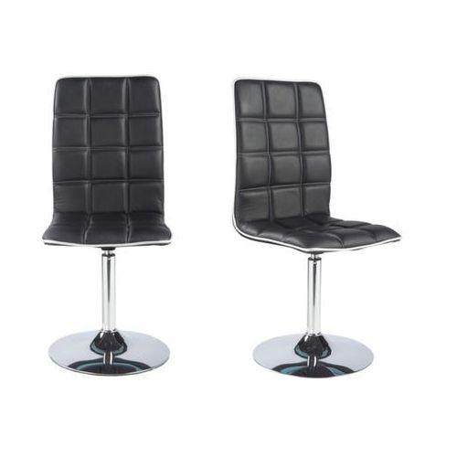 Komplet 2 krzeseł obrotowych springs ekoskóra czarny (Vente Unique)