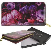 Lakierowany portfel damski fioletowy kwiatowy wzór PURPLE - fioletowy || różowy || czarny