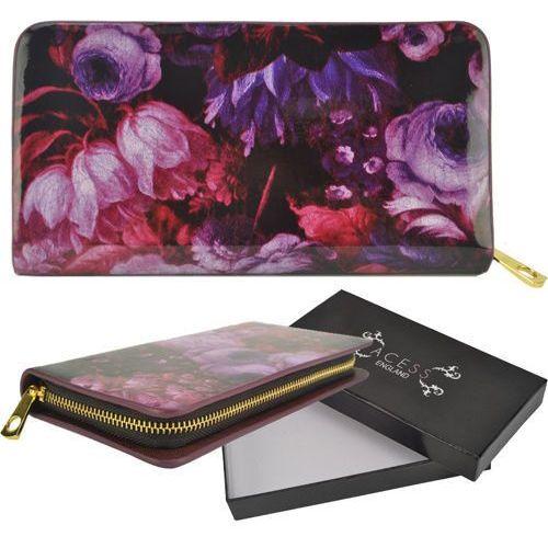 Lakierowany portfel damski fioletowy kwiatowy wzór purple - fioletowy   różowy   czarny Wielka brytania