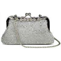 Zjawiskowa srebrna torebka wizytowa z kryształków