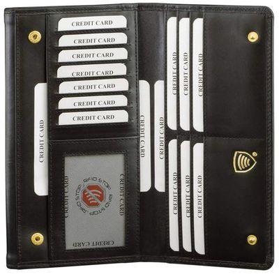 68f3eebc29bb1 Bezpieczny Skórzany Damski Antykradzieżowy Portfel RFID (Czarny) - Czarny  połysk Koruma Id Protection