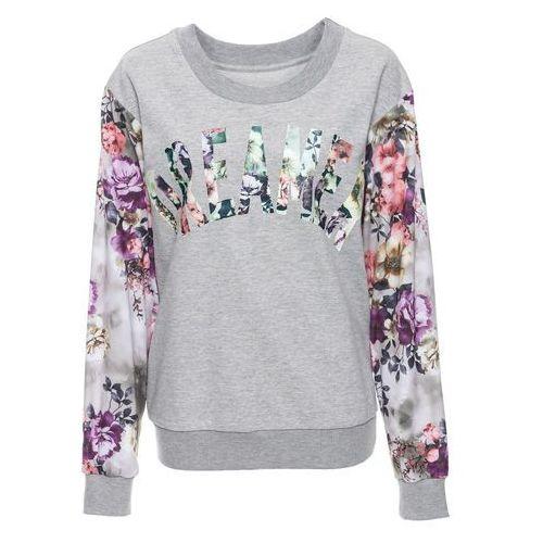 Bonprix Bluza z kwiatowym nadrukiem jasnoszary melanż z nadrukiem