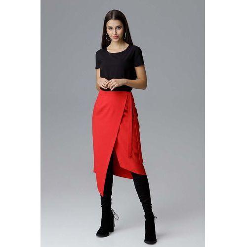 Czerwona Asymetryczna Zakładana Kopertowo Spódnica z Wiązaniem, w 4 rozmiarach