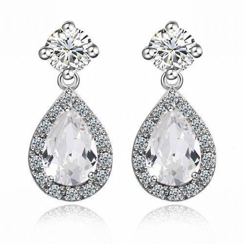 Kol 599/545 kolczyki ślubne, cyrkonie łezki marki Mak-biżuteria
