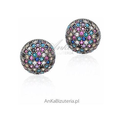 Kolczyki srebrne z turkusem i kolorowymi cyrkoniami Anka biżuteria