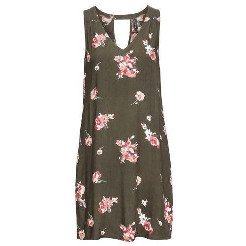 2b4dcb9e91 Zobacz ofertę Sukienka z dekoltem z tyłu bonprix ciemnooliwkowo-jasnoróżowy  w kwiaty