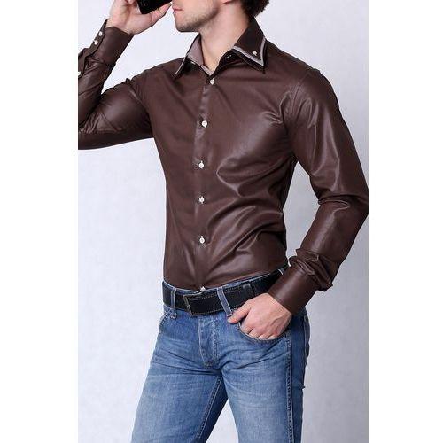 Highness 4202-1koszula męska slim fit- połysk - brązowy