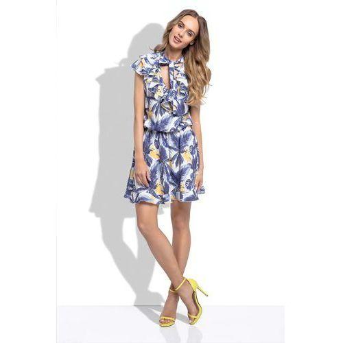 1e39f8bb50 Zobacz ofertę Niebieska letnia sukienka z tropikalnym wzorem z ozdobnymi  falbankami