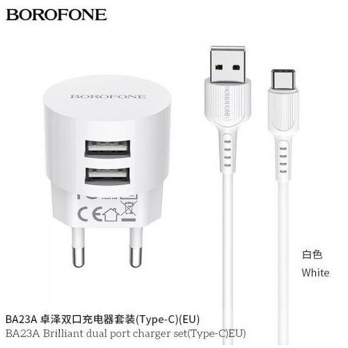 ładowarka sieciowa 10W 2x USB z kablem USB C 1m w zestawie, biały (Borofone)