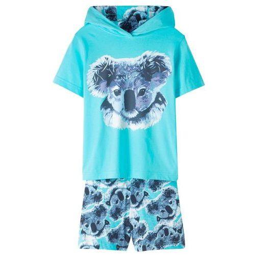 Shirt z kapturem + spódnico-spodnie (2 części) bonprix morski, kolor niebieski