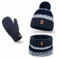 Ciepły komplet PaMaMi, czapka, komin i rękawiczki - Granatowy