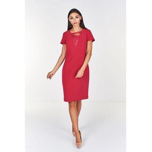 e67d48c9b5 Zobacz ofertę Klasyczna sukienka z koronkową wstawką na dekolcie