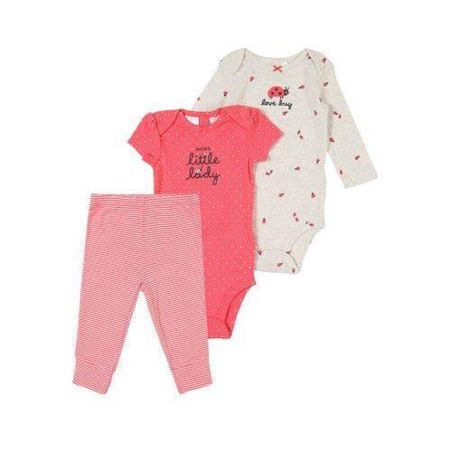 zestaw 'little character set f19 lbb girl ladybug' różowy pudrowy / biały marki Carter's
