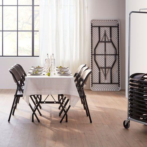 Zestaw mebli składanych, stół 1530x760 mm, 6 krzeseł, czarny marki Aj produkty