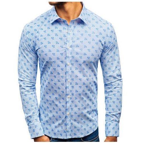 85c52c39b8cb54 Koszula męska we wzory z długim rękawem biało-niebieska 300g36 marki Biblos