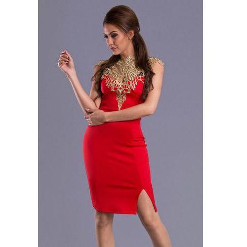 Sukienka - czerwony ze złotym 6404-12, Emamoda
