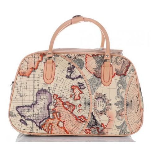 6e27b49043d55 Średnia torba podróżna kuferek world multikolor - beżowa (inne wzory) marki  Or mi