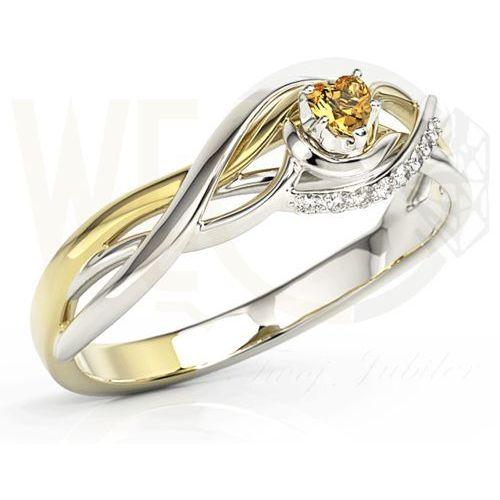 Pierścionek z białego i żółtego złota z topazem swarovski i brylantami bp-73bz - białe i żółte marki Węc - twój jubiler