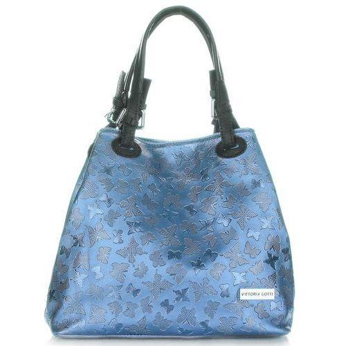 b980ca351489a Eleganckie Torebki Skórzane firmy Vittoria Gotti Lakierowane Niebieskie  (kolory)