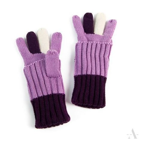 Fioletowo-liliowe uniwersalne rękawiczki 2 w 1 długie i krótkie - fioletowy ||liliowy ||écru marki Evangarda