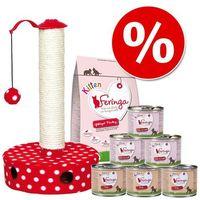Pakiet Startowy Feringa dla kociąt + drapak Trixie w super cenie! - 400 g karmy suchej + 6 x 200 g karmy mokrej z indykiem