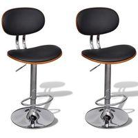 vidaXL Regulowane stołki barowe ze sztucznej skóry z oparciem 2 szt