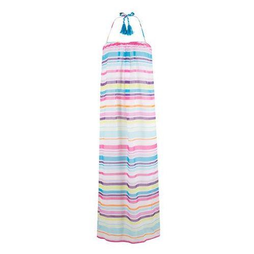Sukienka plażowa bonprix biało-turkusowo-różowo-lila w paski