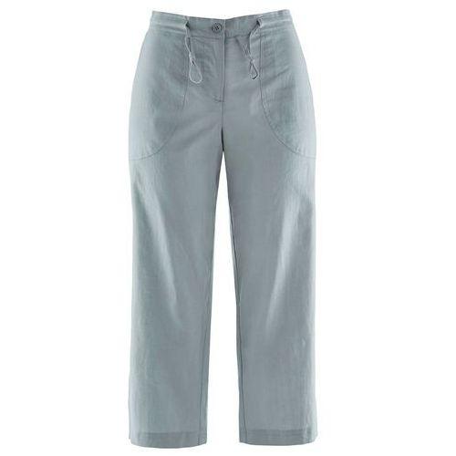 Bonprix Spodnie lniane 3/4 srebrnoszary