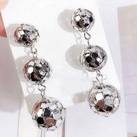 Kolczyki wiszące długie kule srebrne - SREBRNE