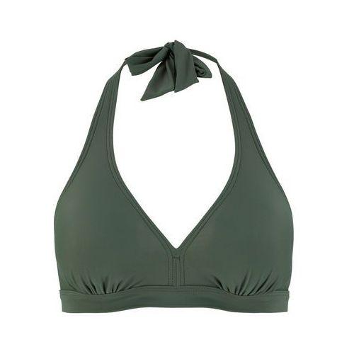 40a1118087706b Zobacz w sklepie Biustonosz bikini z ramiączkami wiązanymi na szyi bonprix  oliwkowy, góra