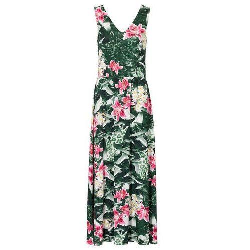 Długa sukienka zielony w kwiaty marki Bonprix