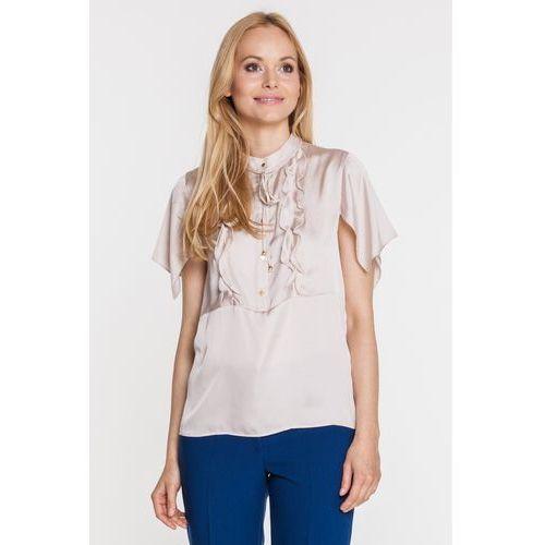 Beżowa bluzka z jedwabiem - Duet Woman, 1 rozmiar