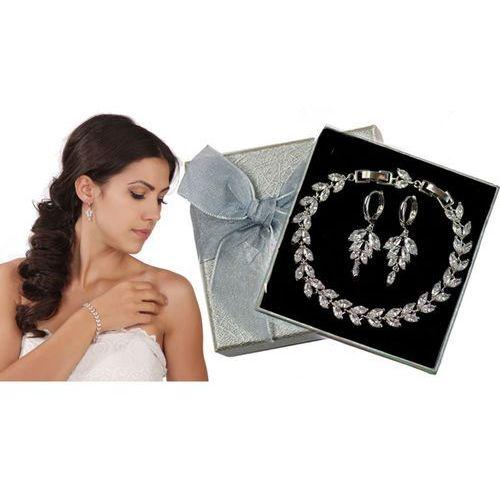 Kpl866 komplet ślubny, biżuteria ślubna z cyrkoniami b599/424 k599/90