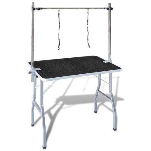 Vidaxl stół groomerski z dwoma smyczami, regulowany