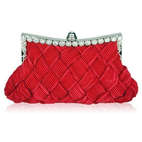 403e9c8eb85b4 Czerwona torebka wizytowa z karbowaną plecionką - czerwony (WIELKA ...