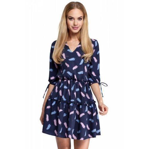 ffb729a10b915c Błękitna klasyczna sukienka trapezowa z siatkowym panelem marki Moe ...