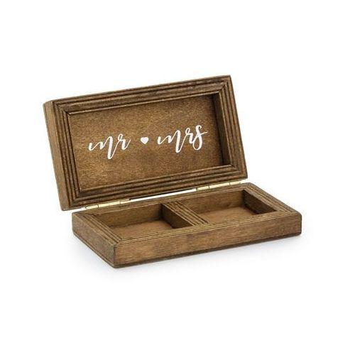 Party deco Drewniane pudełko na obrączki mr mrs - 1 szt. (5900779113794)