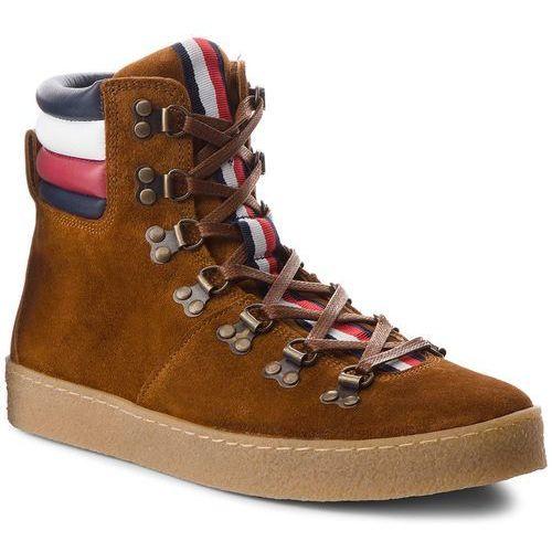 da1a6fbae1813 Tommy hilfiger Kozaki - crepe outsole hiking hybrid boot fm0fm01918 cognac  606
