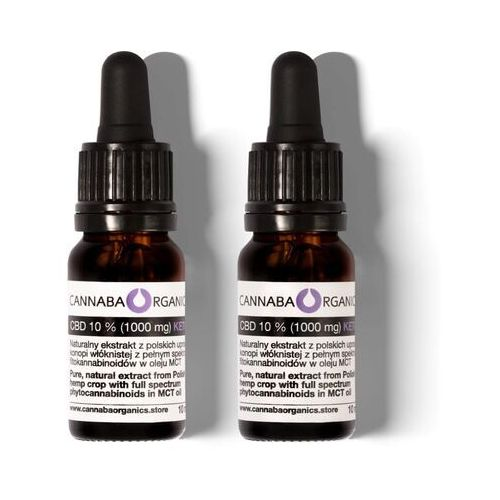 Cannaba organics Zestaw 2 buteleczek 10 ml z olejem 10% cbd+mct bez chlorofilu