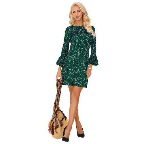 f10d7d76fe Zobacz ofertę Ciemno zielona prosta sukienka w kropki z falbanką przy  rękawach Merribel