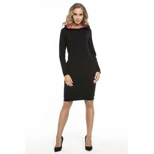 47e64ccec18f64 Czarno różowa sportowa sukienka z kapturem (Tessita) - sklep ...